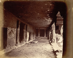 View from the left looking along interior of verandah of Buddhist Vihara, Cave VII, Ajanta
